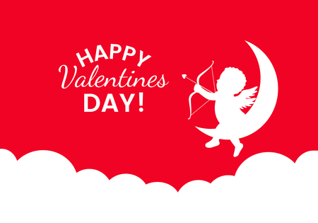 St. Valentines Day greeting card or banner. vector illustration isolated on a red background.
