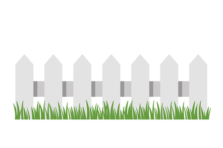 Traditional white fence with green grass. black and white background