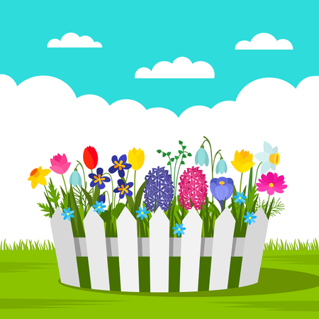 Beautiful flowerbed with spring flowers and a white fence outdoors. concept of garden and gardening. Illustration