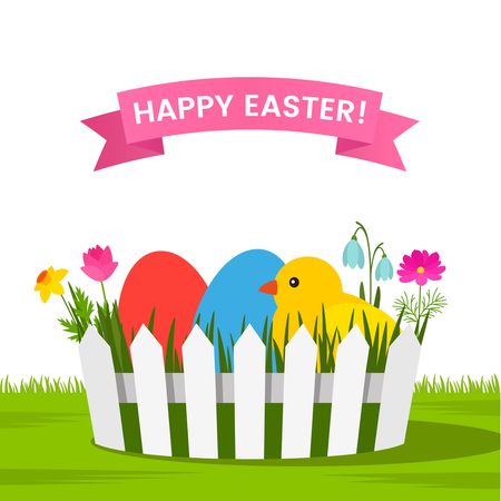 Easter basket with multicolored ornament greeting card or banner. Stock fotó - 93600603