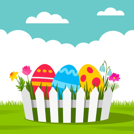 Easter basket with multicolored ornament greeting card or banner. Stock Illustratie