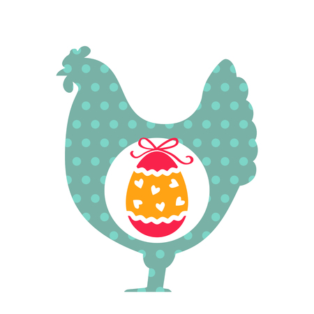 Easter hen and egg flat vector illustration isolate on a white background Illustration