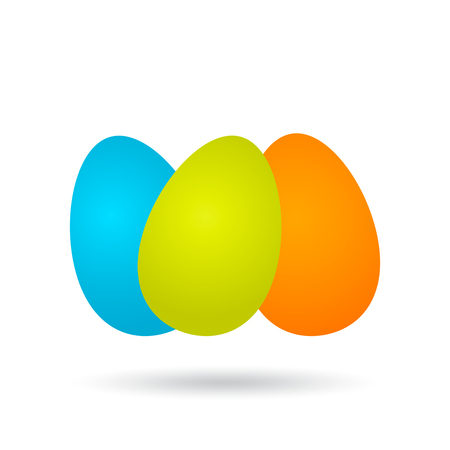 Three chicken Easter colored eggs in a realistic style with a shadow. vector illustration isolated on white background. concept of Easter holidays