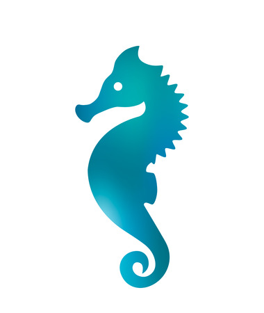 Silhouette of seahorse. imitation of watercolors. black and white background Illustration