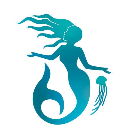 silhouette d & # 39 ; une belle sirène avec de longs cheveux sous l & # 39 ; eau. fond noir et blanc Vecteurs