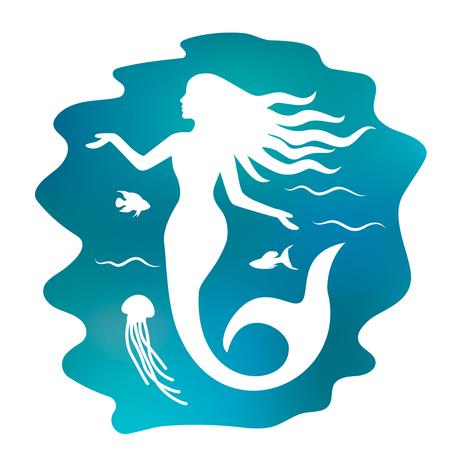 silhouette d & # 39 ; une belle sirène avec de longs cheveux sous l & # 39 ; eau. fond noir et blanc