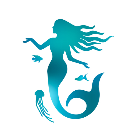 Silhouette of a beautiful mermaid with long hair under the water. black and white background