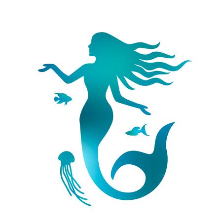 Silhouette di una bellissima sirena con i capelli lunghi sotto l'acqua. sfondo bianco e nero