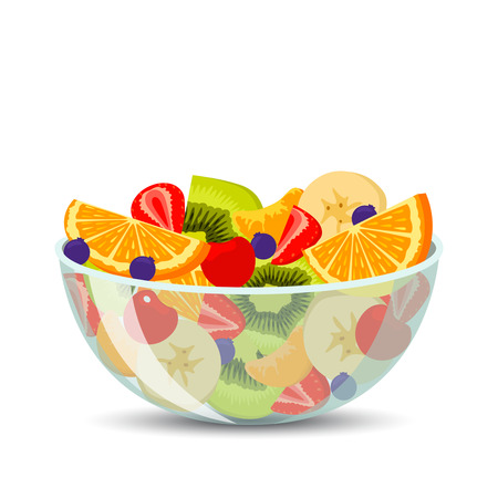Fresh fruit salad in a transparent bowl isolated on background. The concept of healthy and sports nutrition. Vector illustration in a flat design.