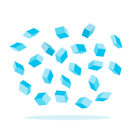 Abstract cubes of ice are falling. black and white background Illustration