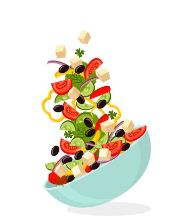 緑のレタスの葉とプレート上のギリシャのサラダ。白黒の背景  イラスト・ベクター素材