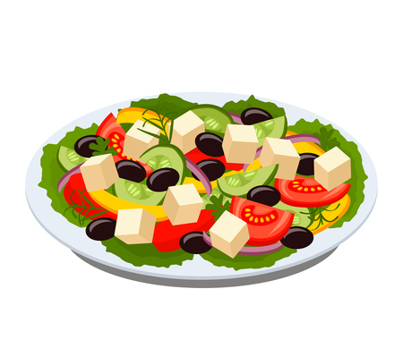 Greek salad on a plate with green lettuce leaves. black and white background