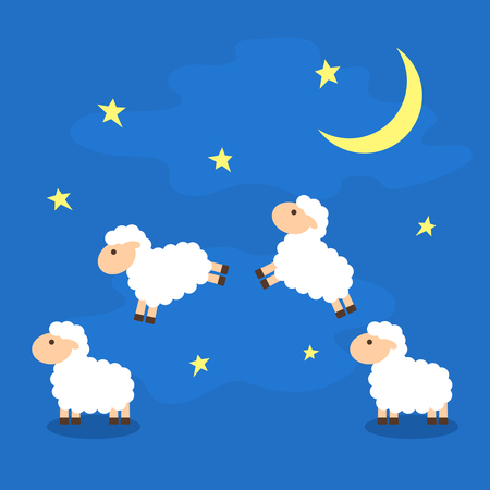 Counting the cute sheep in the night sky to fall asleep.floor vector illustration isolated
