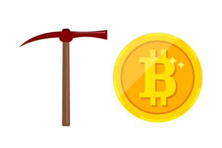 Bitcoin mining concept with pickaxe and coin. flat illustration