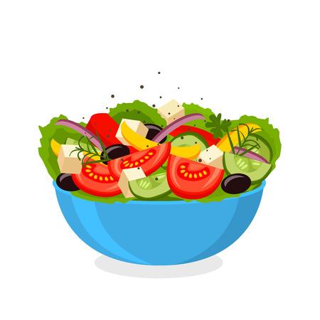 Greek salad. flat Vector illustration. Simple cartoon icon design food. concept of healthy eating