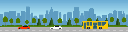 Flat vector cartoon style illustration of an urban road landscape with cars, bus, skyscrapers of urban buildings. Traffic in the street against the background of trees, trees and bushes. flat vector