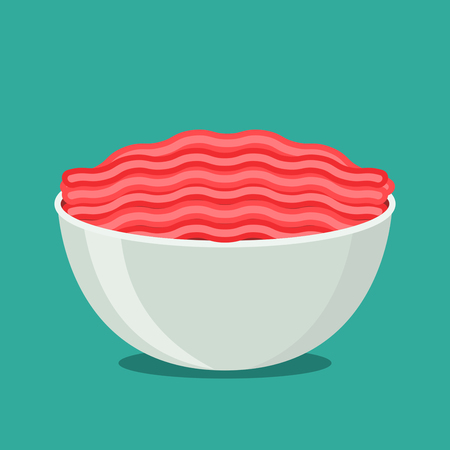 Meat fresh minced meat in a bowl platform vector illustration on a blue background