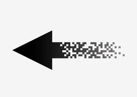 Pixel arrow logo design for web illustration isolated on white background