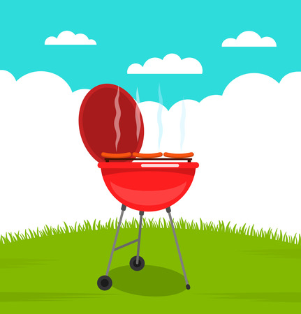 Cooking peppercorn in a barbecue outdoors flat vector illustration on a background of nature and green grass