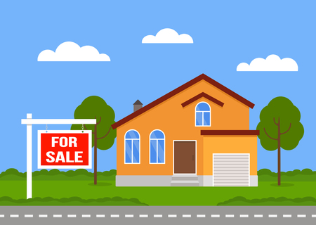 The house is for sale. House and sign in the foreground with information on the sale. Vector illustration of a flat style isolated