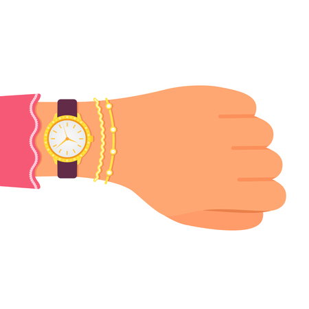 Wrist watch with diamonds on the hand of business lady. Girl with clock and bracelets checks time. Flat design, vector illustration isolated on white background.