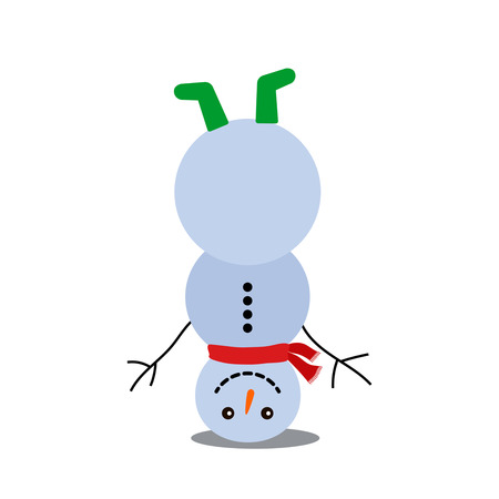 A funny snowman stands upside down. Black and white background Ilustração