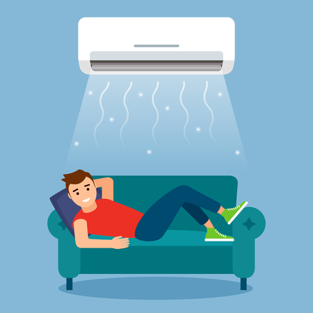A young man is resting or working at home on the couch with the air conditioner on. concept of air cooling and climate control. vector graphic illustration