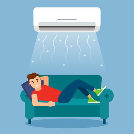 Un jeune homme se repose ou travaille à la maison sur le canapé avec le climatiseur. concept de refroidissement par air et de climatisation. illustration graphique vectorielle