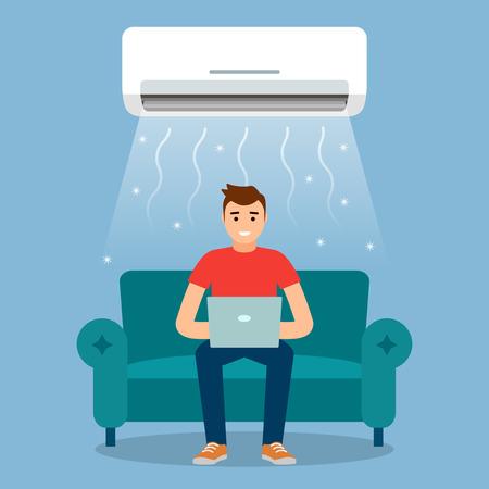 Un giovane sta riposando o sta lavorando a casa sul divano con il condizionatore d'aria acceso. Concetto di raffreddamento ad aria e controllo del clima. Illustrazione grafica vettoriale Archivio Fotografico - 95922827