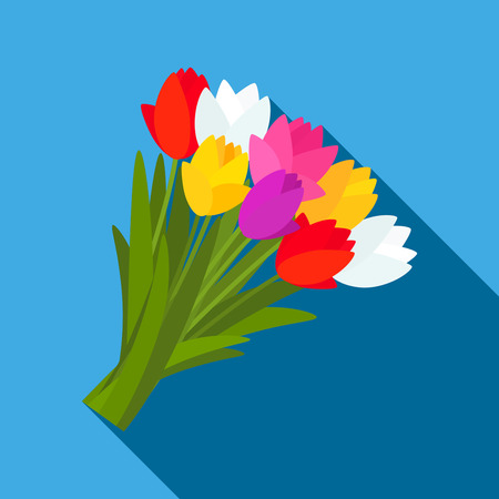 Beautiful bouquet of colorful spring tulips, daffodils with a bow. Flat design. Vektorové ilustrace