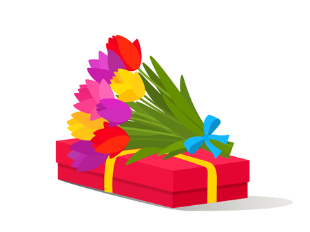 Beautiful bouquet of colorful spring flowers and a box with gifts. Flat design on a white background. Vector illustration. concept of a holiday and congratulations Illustration