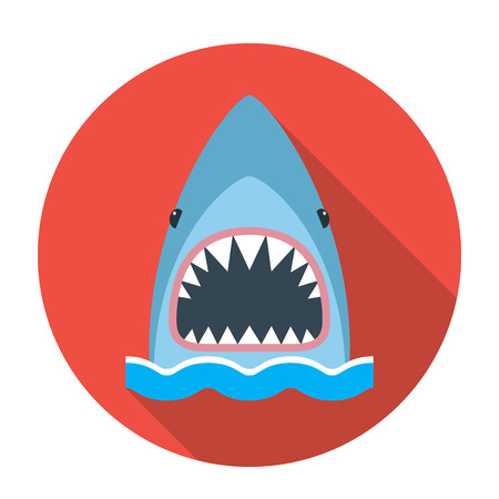 The round emblem of the icon is a shark with an open mouth. flat vector illustration with long shadow Illustration