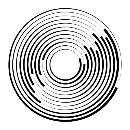 Concentric rotating circular geometric figure of a tornado or vortex. vector illustration isolated. Stock Vector - 97123508