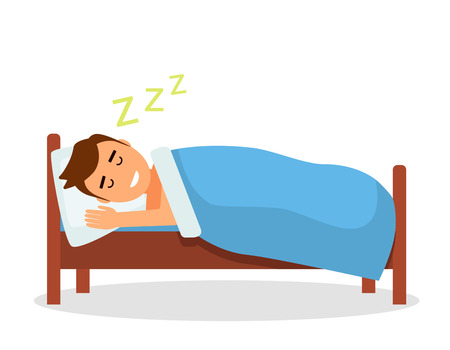 A baby boy sleeps a sweet dream in his bed under a blanket. Isolated vector illustration in a flat cartoon style Vectores