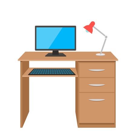 Office desk with a lamp and computer.