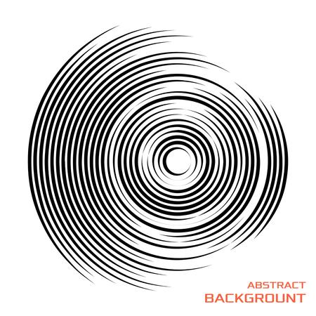 Konzentrische rotierende kreisförmige geometrische Figur eines Tornados oder Wirbels. Vektor-Illustration isoliert.