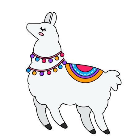 Funny llama alpaca in a cartoon style isolated. flat vector illustration Illustration