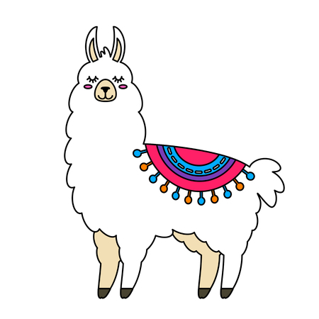 Funny llama alpaca in a cartoon style isolated. flat vector illustration Vettoriali