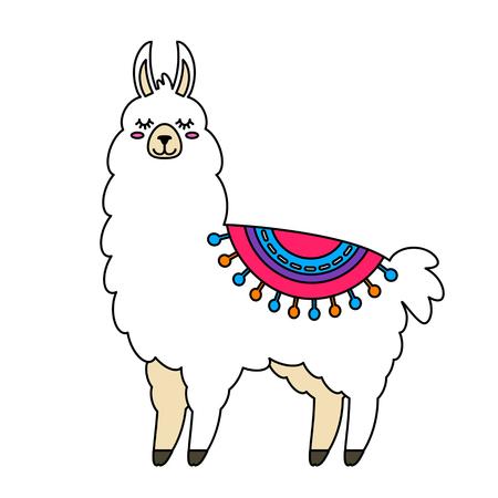 Grappige lama alpaca in een cartoon-stijl geïsoleerd. platte vectorillustratie