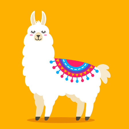 Funny llama alpaca in a cartoon style isolated. flat vector illustration Çizim