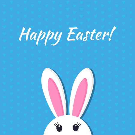 Easter bunny in a cartoon style. greeting card or poster. Vector illustration. concept of spring and Easter holidays