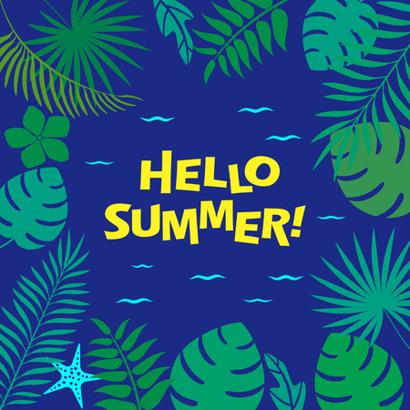 Hello summer! greeting poster or flyer - silhouette of ocean and tropical leaves Vector illustration.