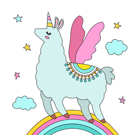 Funny llama alpaca in the image of a unicorn with wings and a horn   cartoon style  isolated  flat vector illustration Illustration