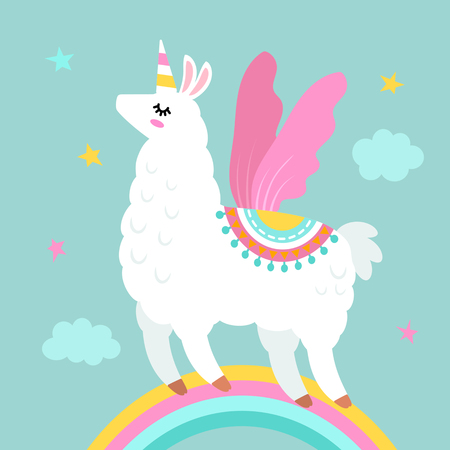 Funny llama alpaca in the image of a unicorn with wings and a horn  cartoon style  isolated  flat vector illustration