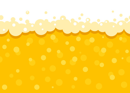 Seamless beer background with foam and bubbles. Pattern wallpaper beer oktoberfest. flat Vector illustration.