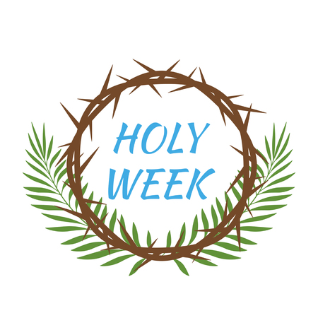 Christian banner holy week with thorns wreath of Jesus Christ and palm branches. Vector illustration. concept of Easter