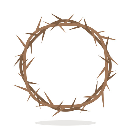 Prickly thorns wreath of Jesus Christ. A symbol of Christianity and Easter. Black and white background.