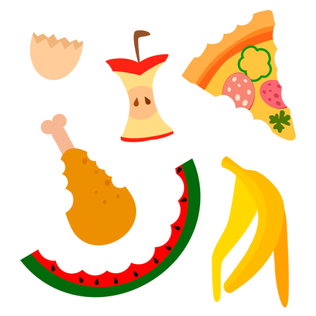 Disposal of waste organic food. The concept of ecological recycling and waste recycling. flat vector illustration in a cartoon style, isolated on a white background.
