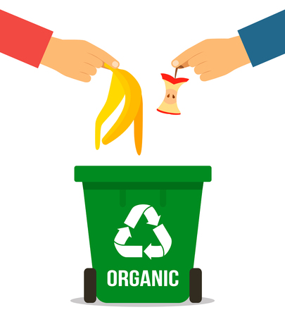 The hand of man throwing garbage into organic container. Concept of garbage processing. Vector illustration in a flat style on a white background.