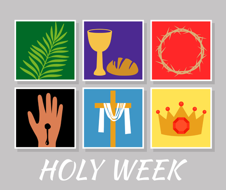 "Christian banner ""Holy Week"" with a collection of icons about Jesus Christ. The concept of Easter and Palm Sunday. flat vector illustration"